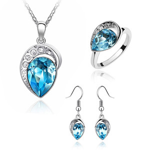 Fashion Crystal Rhinestone Jewelry sets Drop Necklace Ring Earrings for femme Joyas de plata Made With
