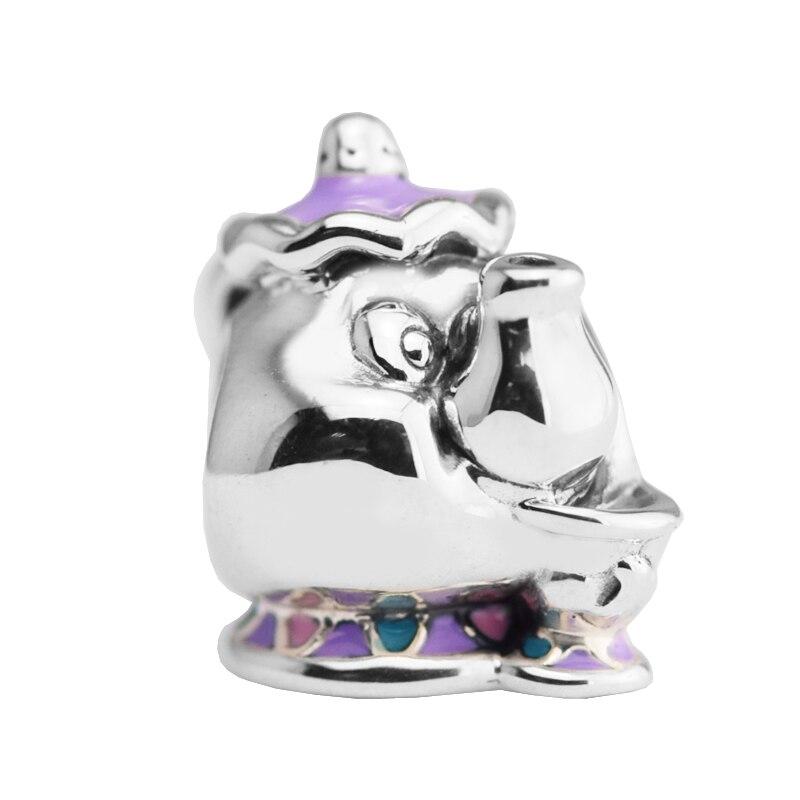 Pandulaso Fairy tale Mrs Potts Chip Mix Beads Fits European Charm Bracelet 925 Sterling Silver Jewelry