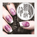 YZW-Y Feathers New Year Snowflakes Stamping Nail Art Image Plate 5.6cm Stainless Steel Template Polish Manicure Stencil Tools