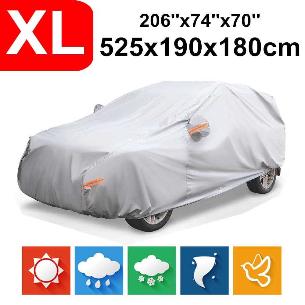 NOVSIGHT bâches de voiture imperméables Protection solaire extérieure couverture pour taille M-XL magnétique pare-brise couverture pluie ombre gris