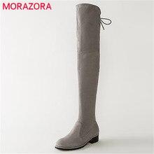 MORAZORAสำนักงานผู้หญิงnubuckหนังบู๊ทส์กว่าเข่าตารางส้นแฟชั่นหรูหราฤดูหนาวบู๊ทส์lace upสีเขียวทหารหญิงรองเท้า