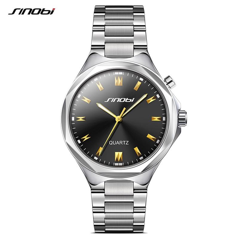 SINOBI Men's Fashion Casual Quartz Watches Mens Golden Wrist Watches Montre Homme New Relogio Masculino Geneva Steel Clocks