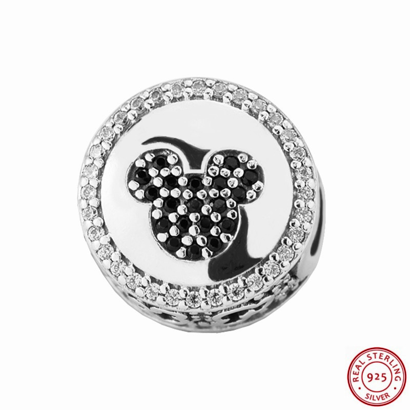 Desney 925 Sterling Silver Mikey & Minie Sparkling Icons Charm Beads DIY Fit PANDORA Charms for Women Jewelry Wholesale FL463