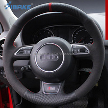 For Audi A1 A5 High Quality Hand-stitched Anti-Slip Black Leather Black Suede Red Thread DIY Steering Wheel Cover цена