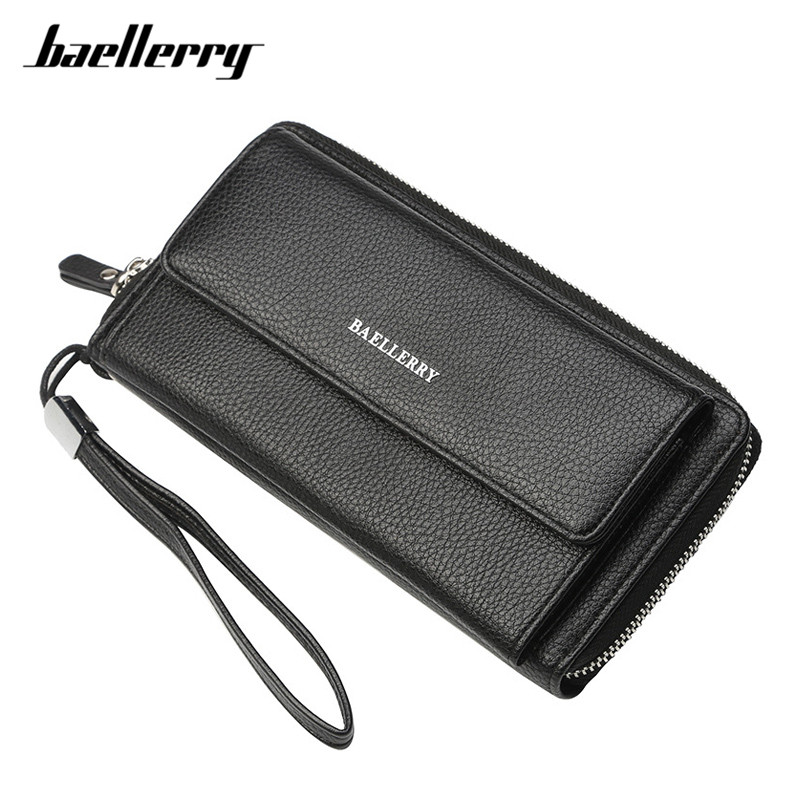 Baellerry 2018 New Large Capacity Wristband Wallet Male Soft Leather Card Holder Phone Pocket Clutch Purse Men Wallets Carteira