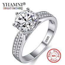 Фотография YHAMNI Original Real Natural 925 Sterling Silver Rings for Women Luxury 8mm Sona CZ Zircon Wedding Rings Fashion Jewelry J06