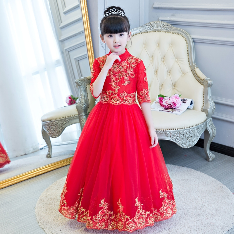 2017 New Elegant Girls Chinese Red Color Cheongsam National Style Collar Dress Baby Children Wedding Birthday Long Lace Dress collar color block striped dress