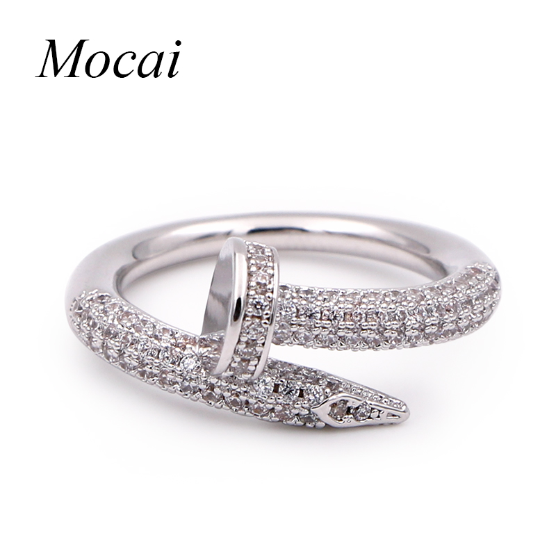 Fashion Nail Rings Simple Brand Designer Gold Color Micro Pave Zircon Nails Wedding Ring Women Jewelry ZK20