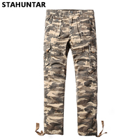 Summer Cotton Male Trousers Camouflage Military Zipper Men Cargo Button Pants Pockets Casual Tactical Khaki Camo