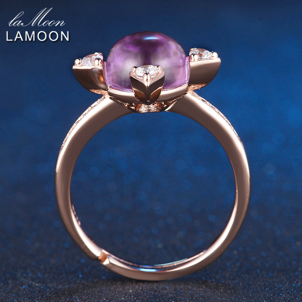 LAMOON 2.1ct Luxus Sterne Ringe für Frauen Natürliche Lila Amethyst - Edlen Schmuck - Foto 4