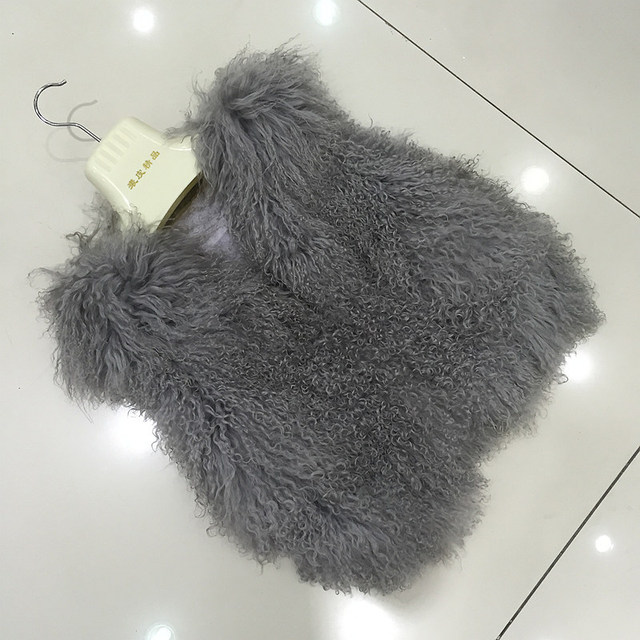 QC9517  winter women fur coat high quality real mongolia sheep fur vest  genuine real sheep fur gilet  for girls