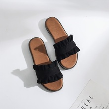 2019 new womens slippers fashion fungus lace sandals female flat shoes women