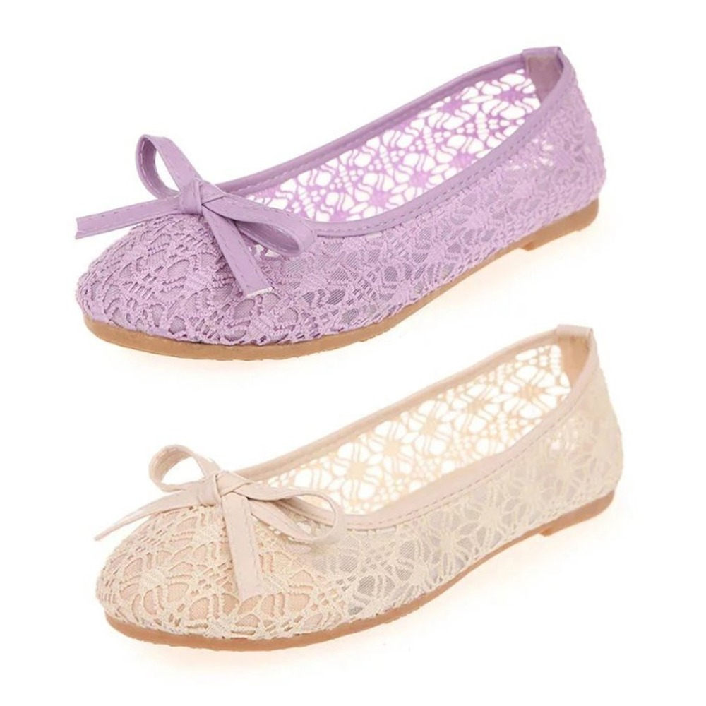 Fashion Women Soft Sole Flats Shoes Breathable Mesh Lace Round Toe Anti-slip Bowknot Comfortable All-match Style Daily Wear mesh lace panel sheer slip babydoll
