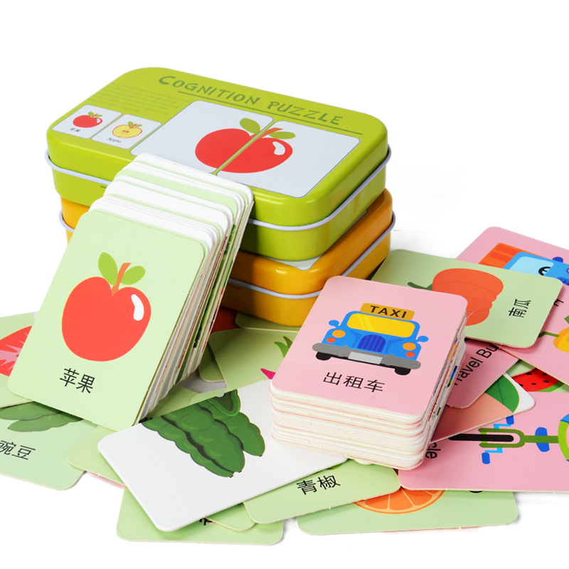 Baby Toys Iron Box Match Game Puzzle Card Learning Chinese English Fruit Animal Traffic Educational Montessori Puzzles Stickers
