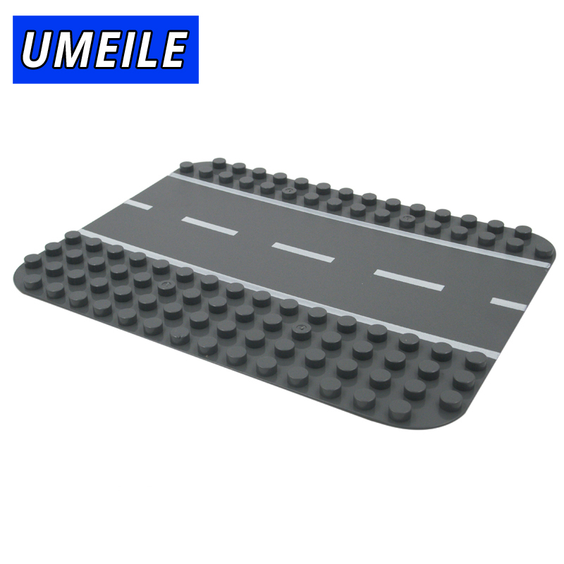 UMEILE Brand Original Classic Creative Big Block Base Plate Highway Road Baseplate Kids Toys Compatible With Duplo
