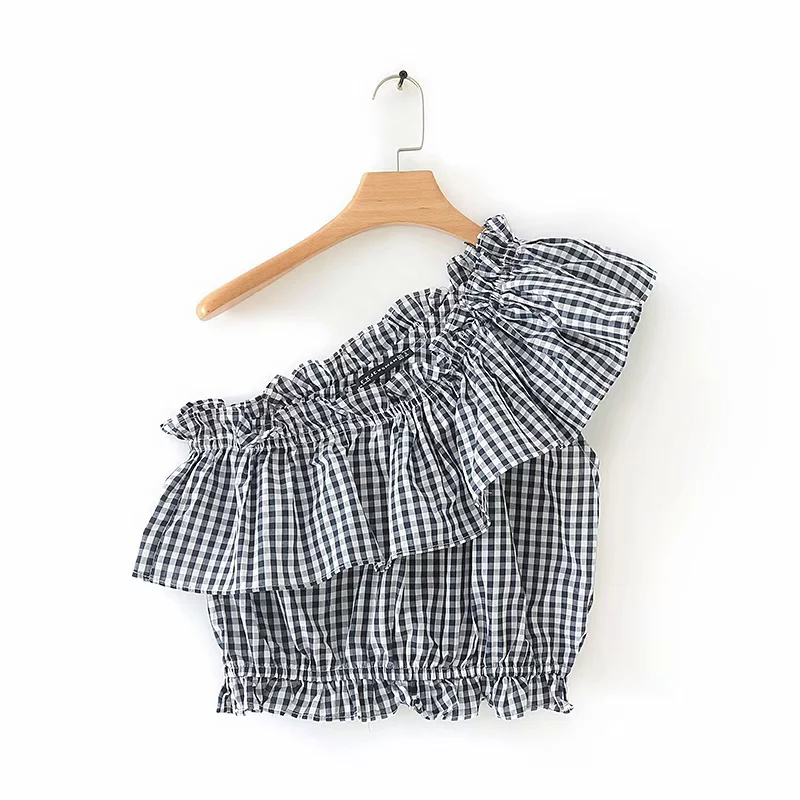 Women Fashion Classic Plaid Single Shoulder Short Shirt 2019 Ladies Chic Summer Short Sleeve Ruffles Tops Female Casual Blouse image