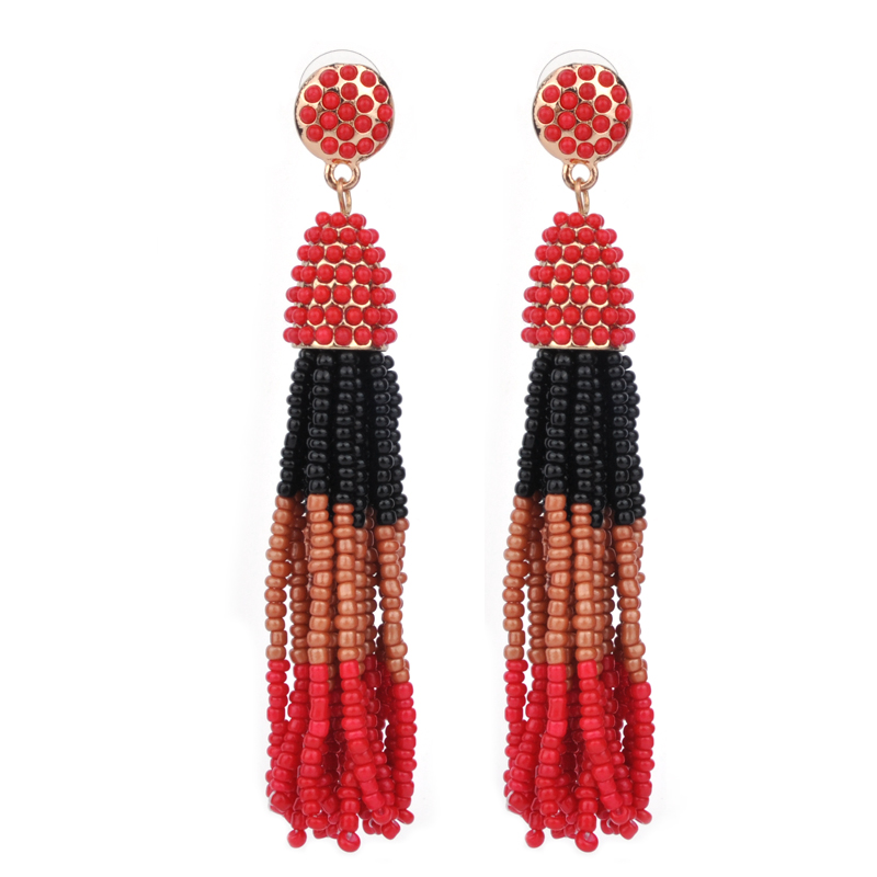 US $1 86 49% OFF|Yhpup 2017 Customized New Fashion Bohemia Resin Seeds  Beads Handmade Tassel Earrings Trendy Mix Colorful Long Dangle Earrings-in  Drop