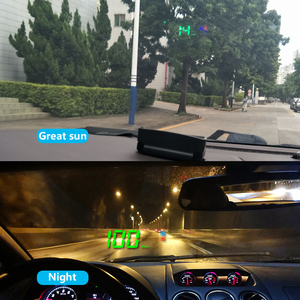 """Image 4 - A2 מראה GPS HUD הראש למעלה תצוגה רכב מהירות שמשה קדמית מקרן אוטומטי מד מהירות קמ""""ש/KPM אוניברסלי דיגיטלי מד מהירות"""