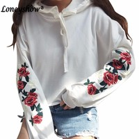 Women Hoodies Sweatshirts White Rose Floral Embroidery Hollow Out Long Sleeve Moletom For Female Tumblr Moleton