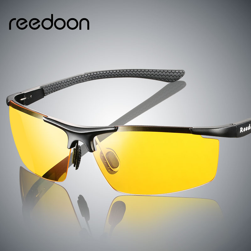 Reedoon Night Vision Glasses Polarized Yellow Anti-Glare Lens UV400 Aluminium Magnesium Frame Driving Goggles For Car Drivers