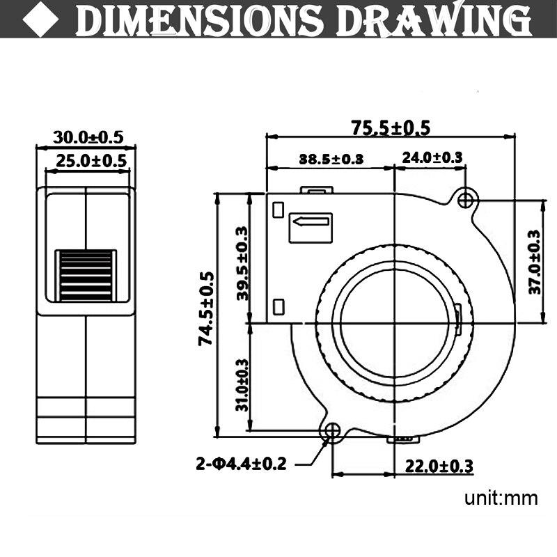 Купить с кэшбэком Gdstime 7530 Blower 5V 12V 24V 2Pin  75x75x30mm Radial Turbo 7530 70mm DC Cooling Blower Fan