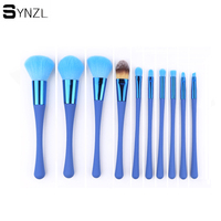10pcs Makeup Brush Set Blue Red Color Soft Nylon Hair Power Contour Blending Eyeshadow Eyebrow Cosmetic
