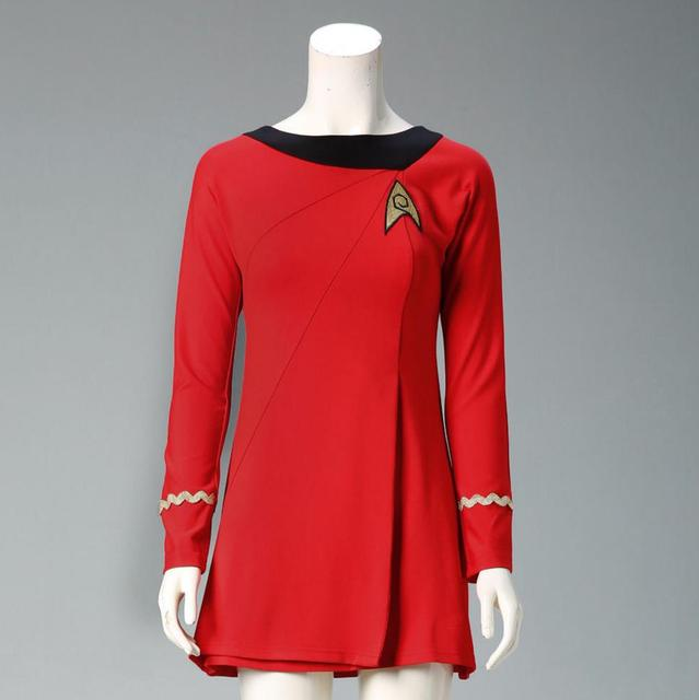 Classic Star Trek Female Duty TOS Blue Uniform Red Dress Cosplay Costume Adult 4