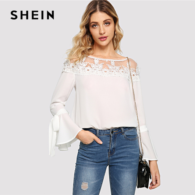 88a4ab5880f7a SHEIN White Elegant Workwear Sheer Contrast Mesh Neck Guipure Lace Flounce  Yoke Tie Sleeve Blouse Autumn Women Casual Shirt Top