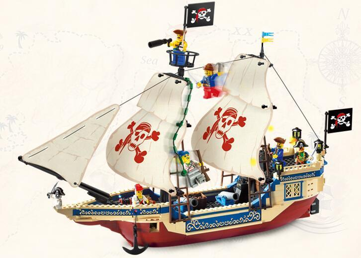 Enlighten Model building kits compatible with lego city Pirate boat Sea King 972 3D blocks Educational toys hobbies for children