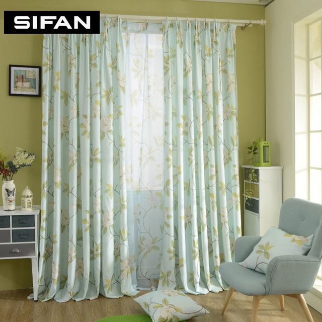 Flower green curtains for living room window curtains for for Tende in voile