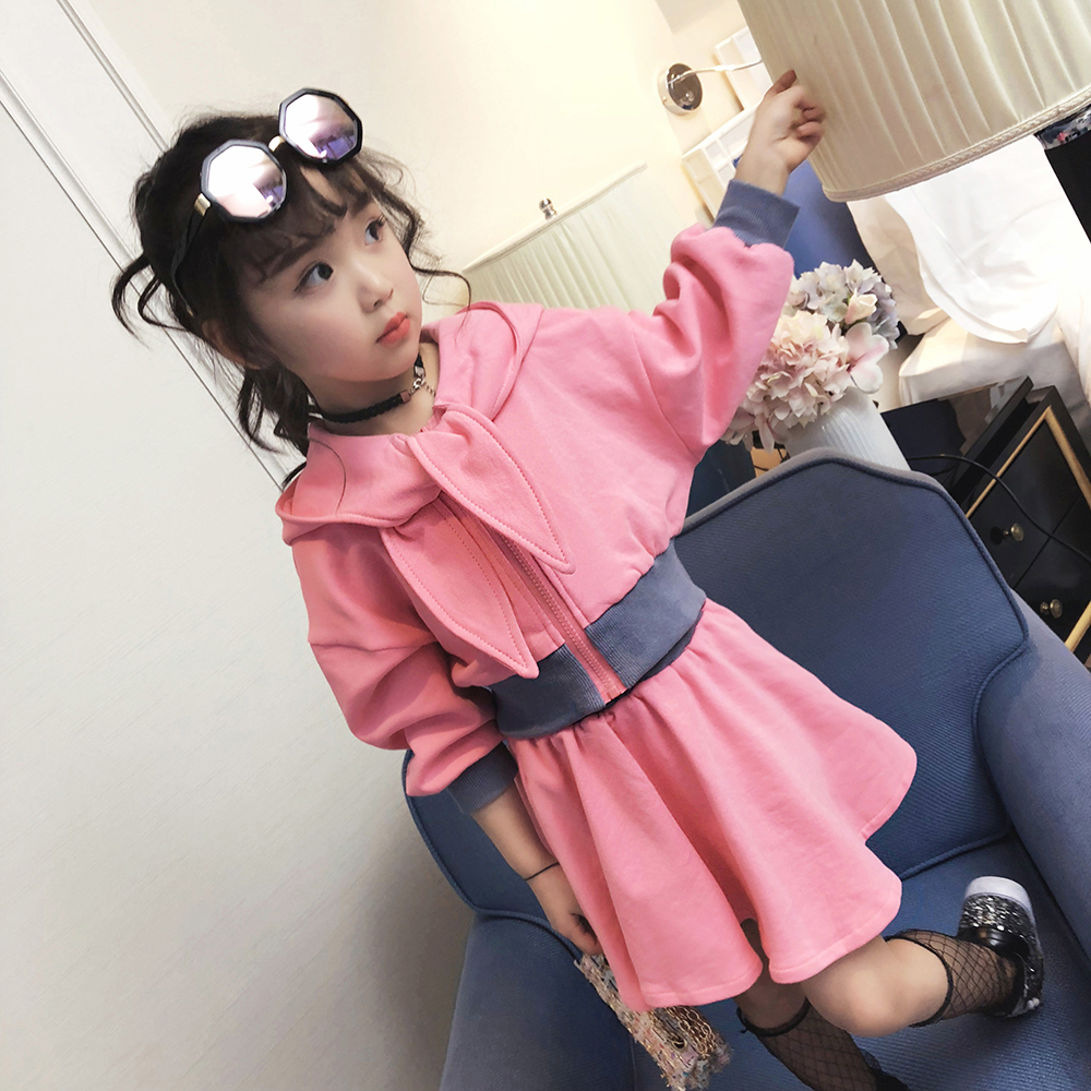 Children's Suit 2018 New Girl Hooded Top with Puff Skirt Two-piece Set Western-style Fashion Sports Set new fashion suspender with sleeveless shirt suit for girl