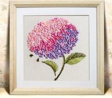 Needlework,DIY Ribbon Cross stitch Sets for Embroidery kit,Pincushion flower love ribbon Cross-Stitch handwork wall home decor