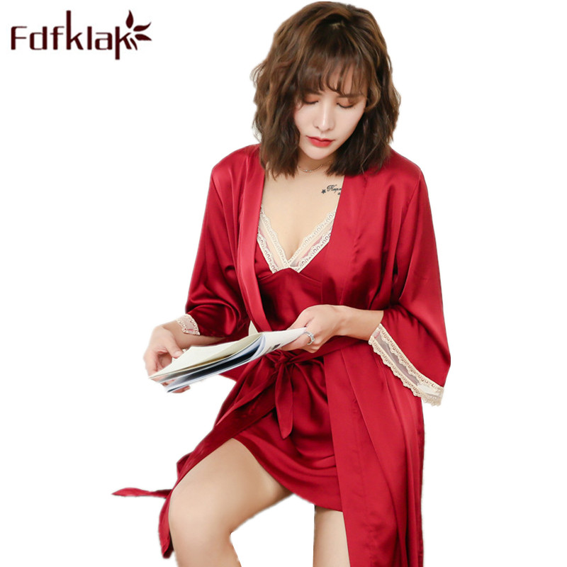 L XL XXL Plus Size Summer Silk Night Robe Set Summer Female Robe 2 Pieces Night Sexy Gowns Lounge Wear Women Sets Fdfklak