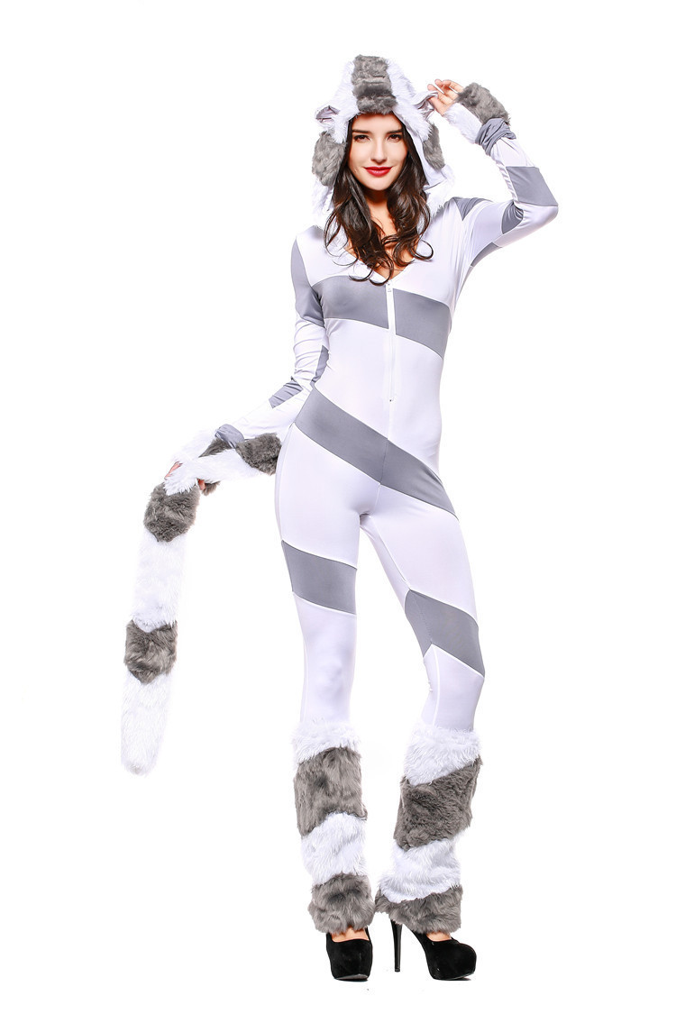 Sexy Striped Bear Costume Long Sleeve Plush Hooded Animal Slim Bodycon Jumpsuit Cosplay Uniforms Halloween Costumes for Women
