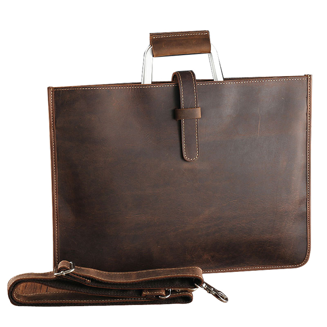 Genuine Leather File Document Bag Documents Organizer Storage With Inner Pocket Real Nature Cow Leather Office Business Supplies