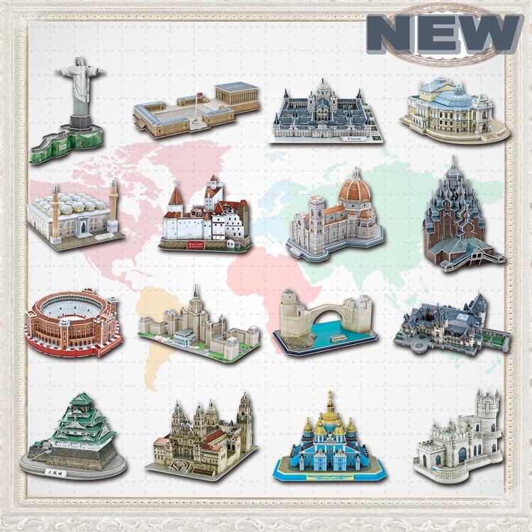 საგანმანათლებლო სათამაშოები ცნობილი არქიტექტურის მოდელი 3D Jigsaw თავსატეხები მოზრდილებში Osaka Peles Bran Castle Las Ventas სათამაშოები ბავშვებისთვის