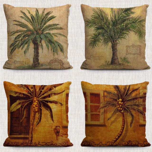 Beau Tropical Plants Palm Tree Oil Painting Sofa Cover Pineapple Tree Paintings  Throw Pillows For Bed Room