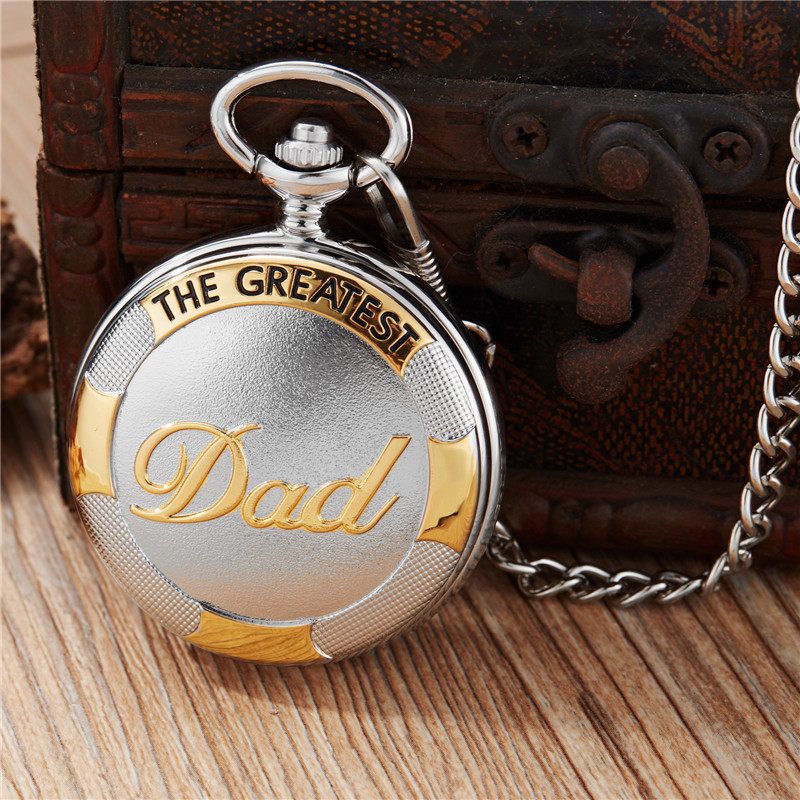 New Silver Gold Luxury Dad Father's Quartz Pocket Watch Roman Numerals Pendant Necklace Fob Chain Best Father's Day Gift