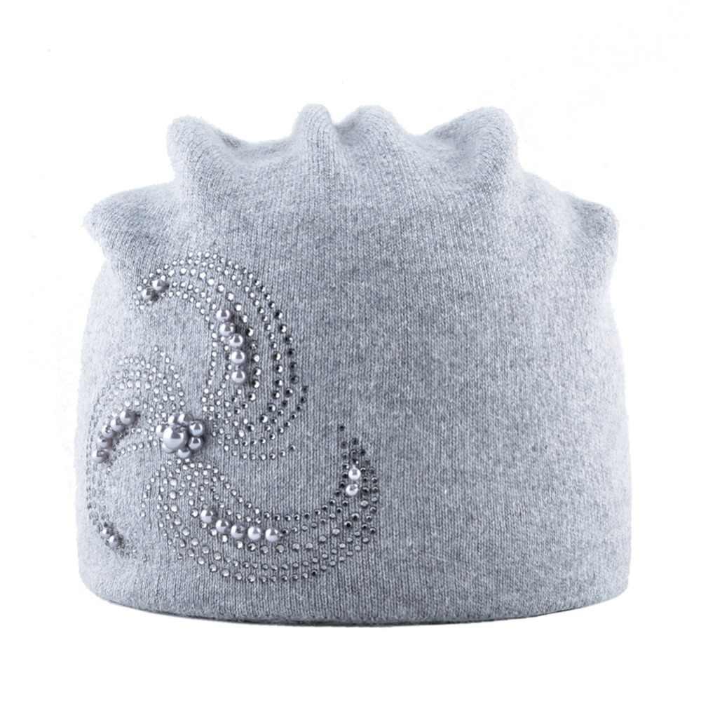 ... Winter Knitted Beanie Hats For Women Pearls Rhinestone Flower Knitting  Wool Bonnet Caps Ladies Soft Warm ... ac8605d2f8c2