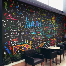 Color chalk math formula blackboard background wall professional making mural custom photo wallpaper