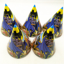 6pcs Batman Birthday Party Supplies Paper Hats Caps For Baby Shower Kids Cartoon Superhero Decoration Festival Favors