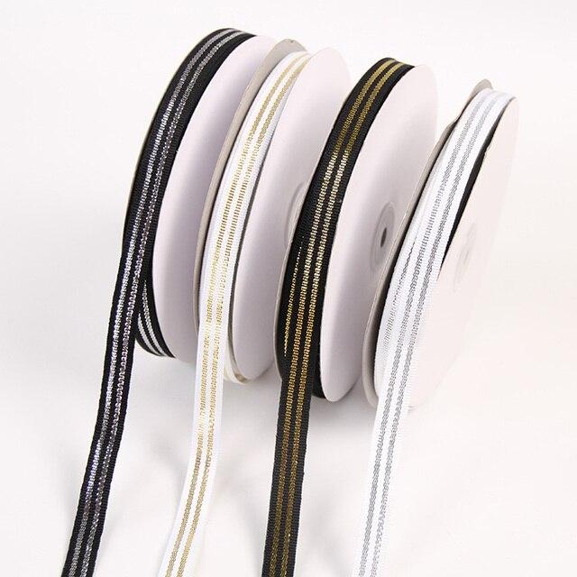 """12 מ""""מ 22 מטרים שחור לבן תחתון זהב כסף סרט מסיבת חתונה בית DIY שיער סרט נעלי ביגוד אבזרים"""