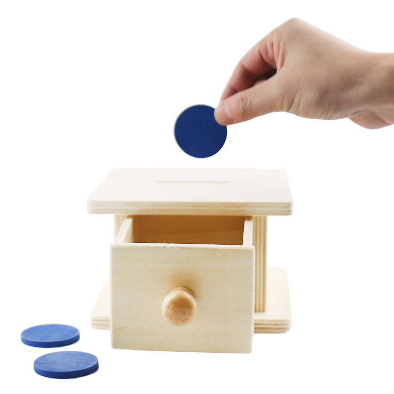 Wooden Montessori Practical Life Montessori Coin Box Learning Educational Toys for Toddlers Juguetes Brinquedos MI2664H