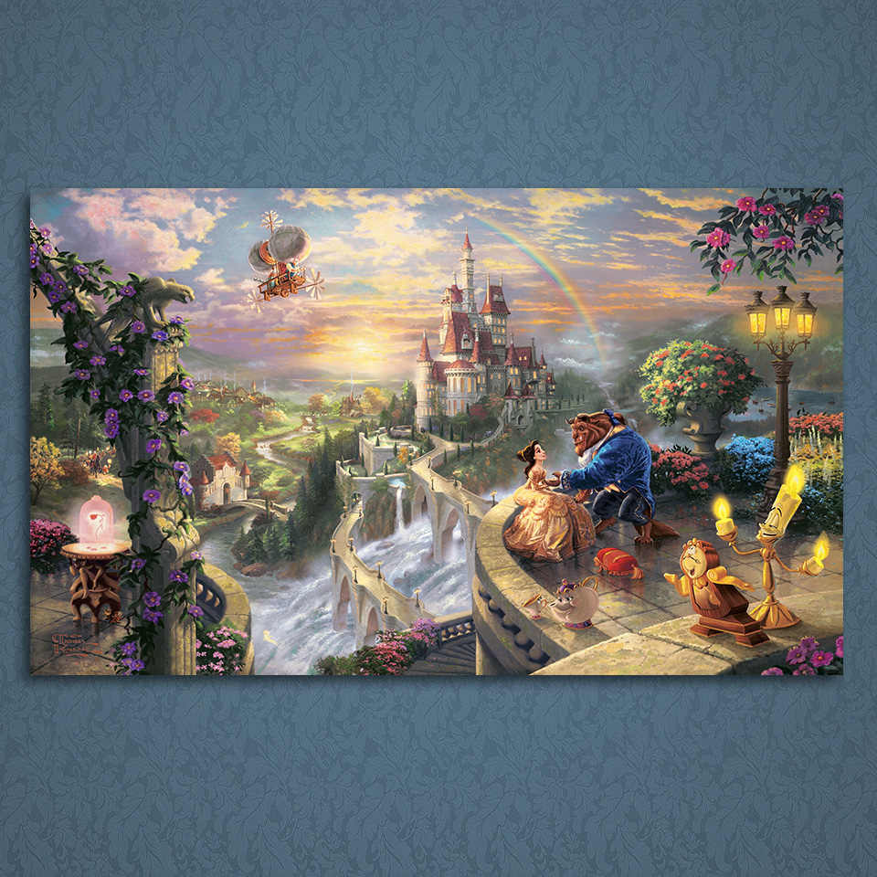 Hd print 1 piece canvas art beauty and the beast poster thomas kinkade painting wall art picture home decoration up 1845c