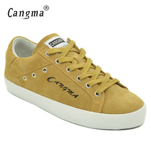 CANGMA Brand Woman Yellow Cow Suede Shoes Female Breathable Genuine Leather Sneakers Womens Casual Shoes Retro Flats Footwear