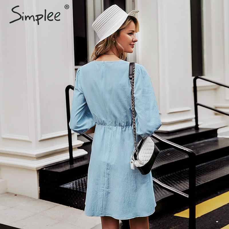 Simplee повседневное женское осеннее платье с v-образным вырезом на элегантных кнопках пояс женское Хлопковое платье с длинным рукавом женское винтажное мини-платье 2019