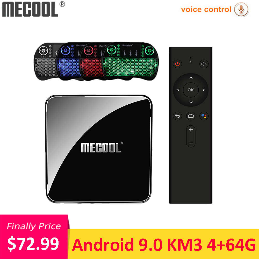 MECOOL KM3 Android 9.0 Smart TV Box Amlogic S905X2 4GB DDR4 64GB ROM commande vocale 2.4G/5G WiFi Bluetooth USB 3.0 4K décodeur