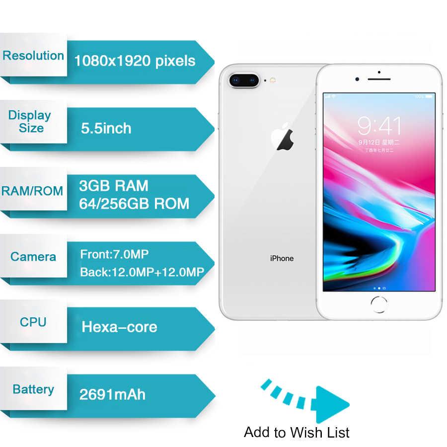 Мобильный телефон Apple iPhone 8 Plus, оригинальный, шестиядерный, iOS, 3 ГБ ОЗУ 64/256 ГБ ПЗУ, экран 5,5 дюйма, 12 Мп, LTE сотовый телефон со сканером отпечатка пальца, 2691 мАч