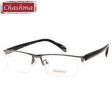 Chashma Brand Sport Style Semi Frame Pure Titanium Acetate Temple Top Quality Eyeglasses Eye Glasses Frames for Men