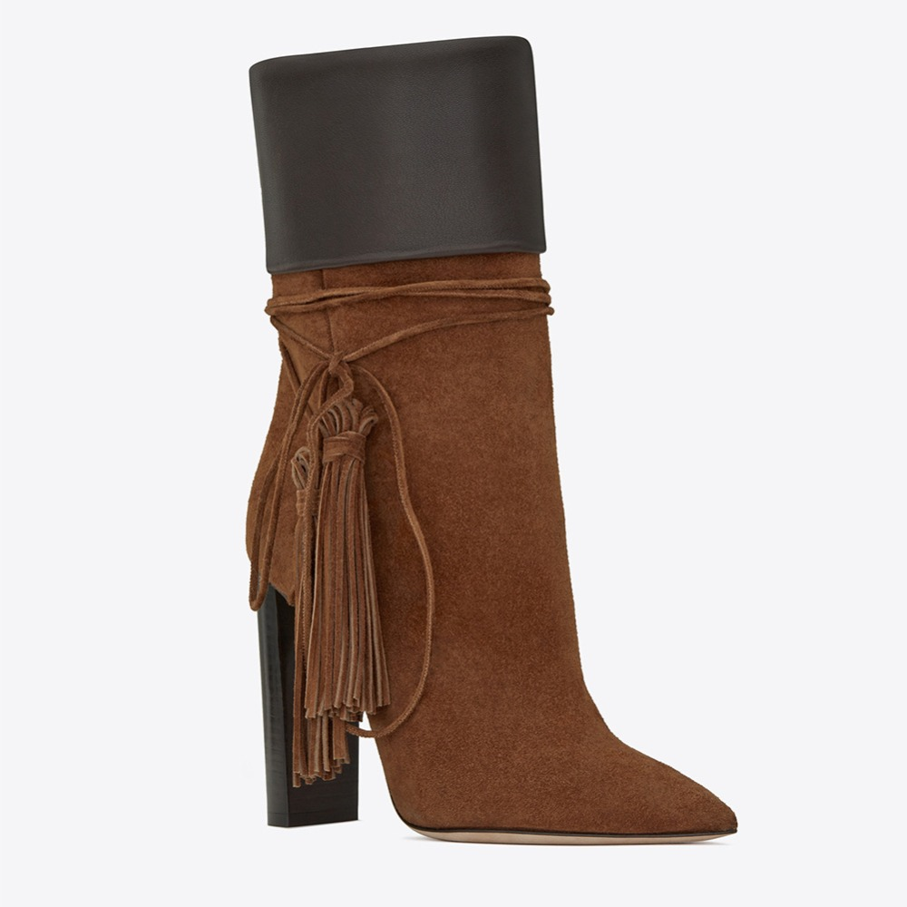 Frange Mi Hauts Arden Bout Printemps Chunky Furtado 44 Black Glands Bottes brown 10 2018 Mode 45 Pointu Cm Talons Marron Automne mollet Taille xBdCoreW